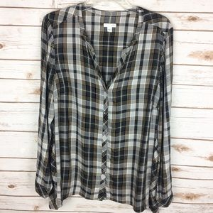 J. Jill plaid button down top